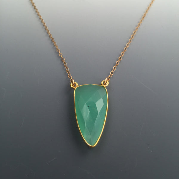 14k Gold-filled/Vermeil Green Chalcedony Triangle Necklace