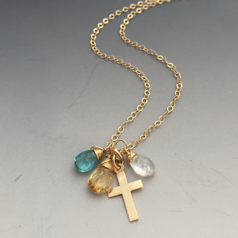 14k Gold-Filled Birthstone Necklace with Cross - As Many Gemstones as you want!