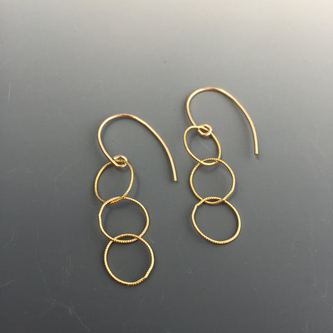14k Gold-filled Textured Connected Circle Earrings