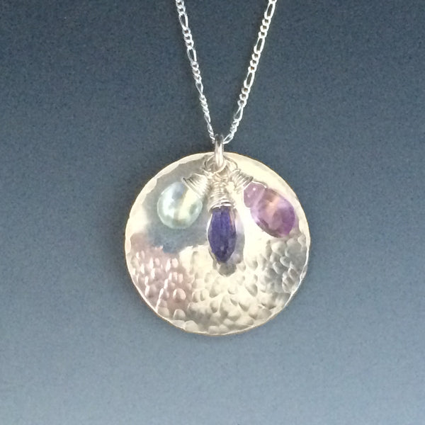 Sterling Silver Mother's Necklace with Semi-precious gemstone briolettes