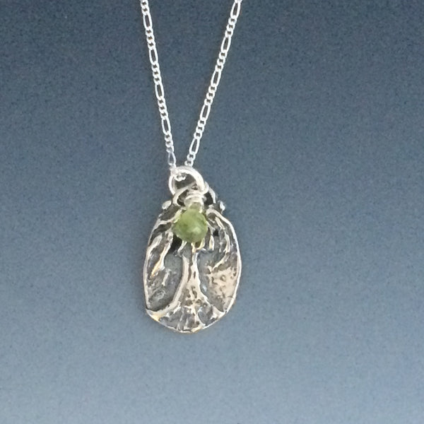 Small Sterling Silver Tree of Life Pendant with a Peridot Briolette
