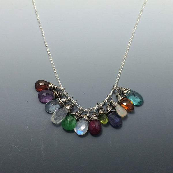 Sterling Silver Gemstone Necklace with birthstones or your choice of gemstone