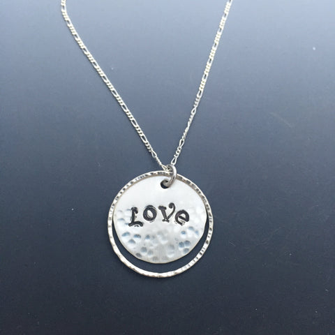 Handstamped Custom Word Sterling Silver Necklace