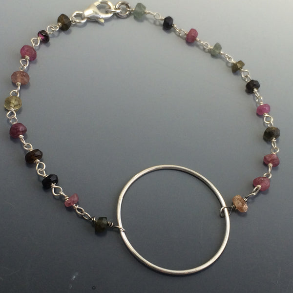 Sterling Silver Circle Bracelet or Necklace with Watermelon Tourmaline Chain