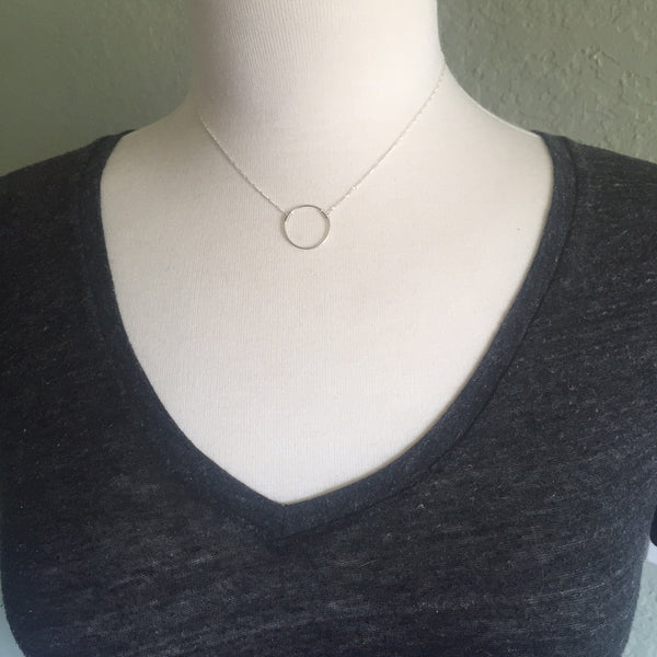 Sterling Silver Floating Circle Necklace