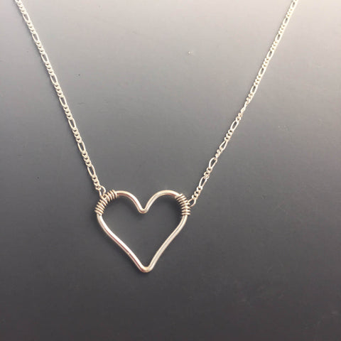 Sterling Silver Floating Heart Necklace, Any Length