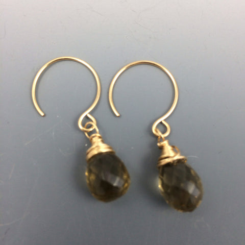 Gold Whiskey Quartz  Earrings