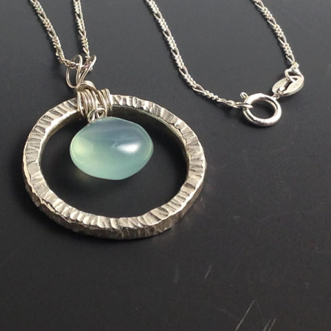 Fused Fine Silver Necklace with Chalcedony Briolette
