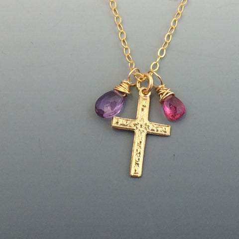 Gold-filled Cross with with birthstones or your choice of gemstone