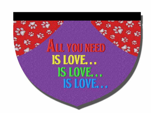 """All you need is love"" - reversible embroidered bandana"