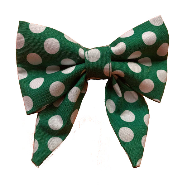 Irish Green Polkadog Sailor Bow