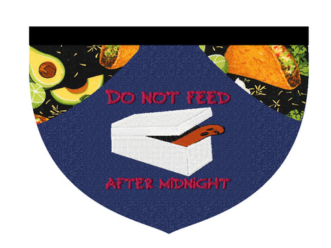Do not feed after midnight! reversible embroidered bandana