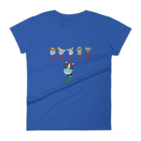 Mask up doggies Women's short sleeve t-shirt