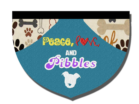 Peace, love, and pibbles - pitbull support bandana