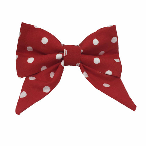 Red Polkadog Sailor Bow