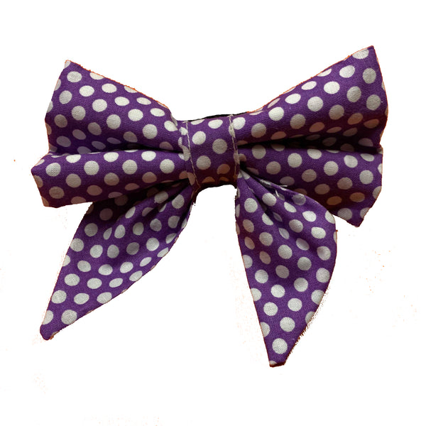 Purple Polkadog Sailor Bow
