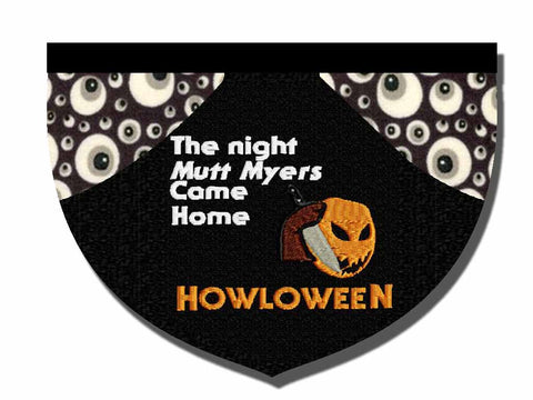 Mutt Myers Halloween Michael Myers-inspired reversible embroidered pet bandana