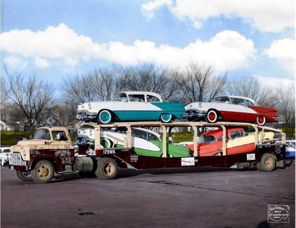 Vintage photo of colorful 50s cars on car carrier