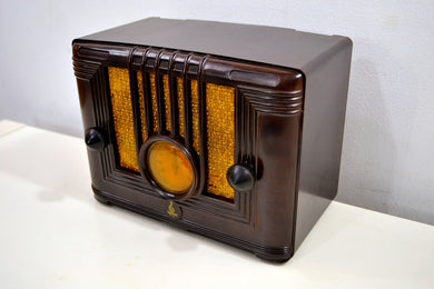 Umber Brown Bakelite 1936 Emerson Model 126 AM Vacuum Tube Radio Golden Age of Radio Beauty!