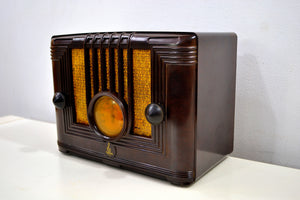 SOLD! - Mar 3, 2020 - Umber Brown Bakelite 1936 Emerson Model 126 AM Vacuum Tube Radio Golden Age of Radio Beauty! - [product_type} - Emerson - Retro Radio Farm