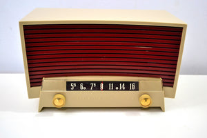 SOLD! - Jan. 19, 2020 - Beige and Brick Vintage 1955 Westinghouse Model H-536T6 AM Tube Radio Works Great! - [product_type} - Westinghouse - Retro Radio Farm