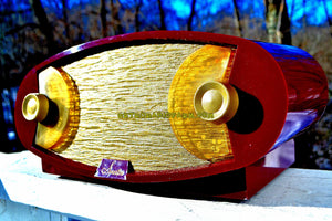 SOLD! - Jan. 10, 2018 - WILD LOOKING MAROON FOOTBALL Retro Deco Modernist 1950 Sparton Model 132 AM Tube Radio Excellent Plus Condition! - [product_type} - Sparton - Retro Radio Farm