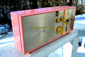 SOLD! - Jan 9, 2018 - PETAL PINK Mid Century Vintage Retro 1962 Emerson Lifetimer II Model G1705 Tube AM Clock Radio - [product_type} - Emerson - Retro Radio Farm