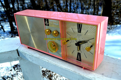 SOLD! - Jan 9, 2018 - PETAL PINK Mid Century Vintage Retro 1962 Emerson Lifetimer II Model G1705 Tube AM Clock Radio