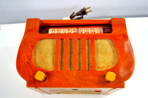 "SOLD! - Feb. 11, 2020 - Honey Gold Marble ""Lyre"" 1938 DeWald Model A-501 Harp Style Catalin Vacuum Tube AM Radio Magnificent! - [product_type} - DeWald - Retro Radio Farm"