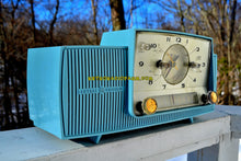 Load image into Gallery viewer, SOLD! - Feb 3, 2018 - POWDER BLUE AND SPARKLING SILVER Mid Century 1959 General Electric Model 912 Tube AM Clock Radio So Sweet! - [product_type} - General Electric - Retro Radio Farm