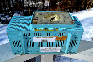 SOLD! - Feb 3, 2018 - POWDER BLUE AND SPARKLING SILVER Mid Century 1959 General Electric Model 912 Tube AM Clock Radio So Sweet! - [product_type} - General Electric - Retro Radio Farm