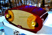 Load image into Gallery viewer, SOLD! - Jan. 10, 2018 - WILD LOOKING MAROON FOOTBALL Retro Deco Modernist 1950 Sparton Model 132 AM Tube Radio Excellent Plus Condition! - [product_type} - Sparton - Retro Radio Farm