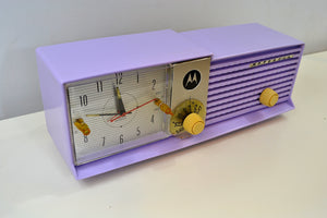 Lavender Bi-level 1957 Motorola 57CD Tube AM Clock Radio - [product_type} - Motorola - Retro Radio Farm