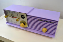 Load image into Gallery viewer, Lavender Bi-level 1957 Motorola 57CD Tube AM Clock Radio - [product_type} - Motorola - Retro Radio Farm