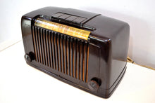 Load image into Gallery viewer, SOLD! - Jan 17, 2020 - Saddle Brown Bakelite Art Deco 1946 Arvin Model 555 AM Antique Bakelite Radio Sounds Great Station Preset Buttons!