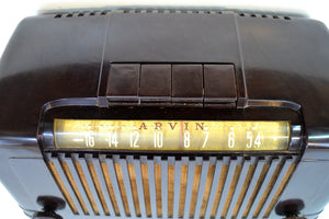 SOLD! - Jan 17, 2020 - Saddle Brown Bakelite Art Deco 1946 Arvin Model 555 AM Antique Bakelite Radio Sounds Great Station Preset Buttons! - [product_type} - Arvin - Retro Radio Farm