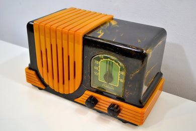 Onyx and Yellow Waterfall 1947 Addison Model B2E Catalin AM Vacuum Tube Radio Breathtaking! - [product_type} - Addison - Retro Radio Farm