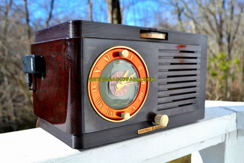 SOLD! - Mar 11, 2018 - BLUETOOTH MP3 READY - Art Deco 1952 General Electric Model 60 AM Brown Bakelite Tube Clock Radio Totally Restored!