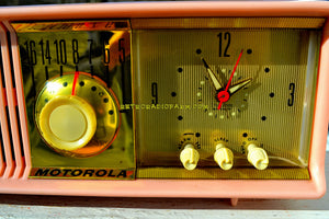 SOLD! - Mar 18, 2018 - MARILYN PINK Mid Century Vintage Retro 1956 Motorola 56CD Tube AM Clock Radio Real Looker!