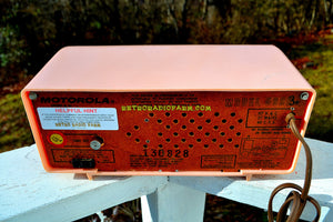 SOLD! - Mar 18, 2018 - MARILYN PINK Mid Century Vintage Retro 1956 Motorola 56CD Tube AM Clock Radio Real Looker! - [product_type} - Motorola - Retro Radio Farm