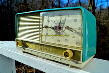 Load image into Gallery viewer, SOLD! - Jan 22, 2018 - AQUA and White Mid Century Retro 1956 RCA Victor 9-C-7LE Tube AM Clock Radio Totally Restored! - [product_type} - RCA Victor - Retro Radio Farm