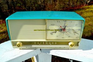 SOLD! - Jan 22, 2018 - AQUA and White Mid Century Retro 1956 RCA Victor 9-C-7LE Tube AM Clock Radio Totally Restored! - [product_type} - RCA Victor - Retro Radio Farm
