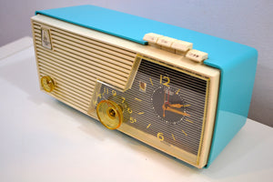 Cielo Turquoise and White 1956 Emerson Model 919 Tube AM Radio Restored Great Sounding!