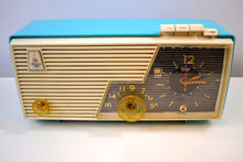 Load image into Gallery viewer, Cielo Turquoise and White 1956 Emerson Model 919 Tube AM Radio Restored Great Sounding!