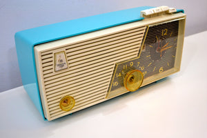 Cielo Turquoise and White 1956 Emerson Model 919 Tube AM Radio Restored Great Sounding! - [product_type} - Emerson - Retro Radio Farm