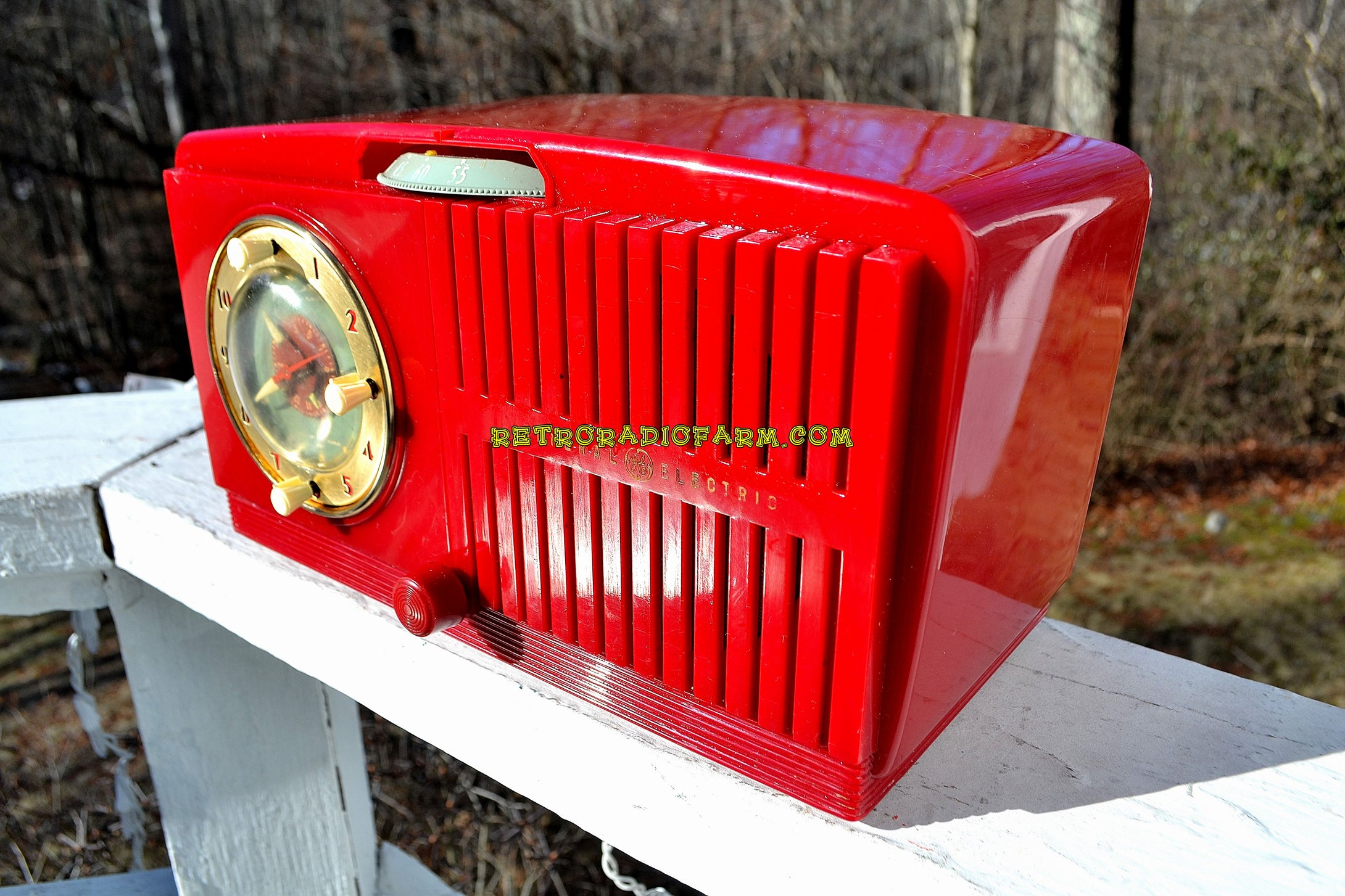 SOLD! - Feb 6, 2018 - CHERRY RED Golden Age Art Deco 1952 General Electric Model 517F AM Tube Clock Radio Sounds Amazing! - [product_type} - General Electric - Retro Radio Farm