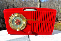 SOLD! - Feb 6, 2018 - CHERRY RED Golden Age Art Deco 1952 General Electric Model 517F AM Tube Clock Radio Sounds Amazing!