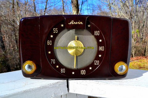 SOLD! - Jan 21, 2018 - BROWN MARBLED Deco Mid Century Vintage 1950 Arvin Model 450TL Tube Radio Golden Age Look!