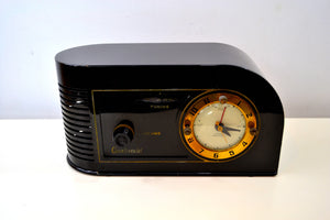 SOLD! - Jan. 16, 2019 - Casablanca Black Golden Age Art Deco 1948 Continental Model 1600 AM Tube Clock Radio - [product_type} - Continental - Retro Radio Farm