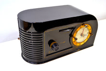 Load image into Gallery viewer, SOLD! - Jan. 16, 2019 - Casablanca Black Golden Age Art Deco 1948 Continental Model 1600 AM Tube Clock Radio - [product_type} - Continental - Retro Radio Farm